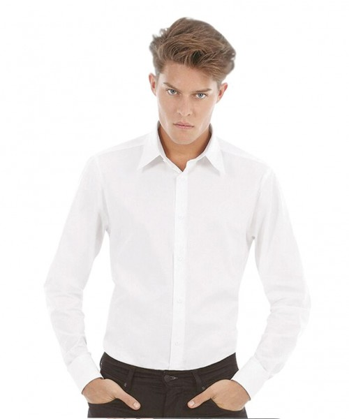 B&C London Long Sleeve Stretch Poplin Shirt