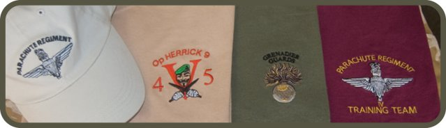 printed and embroidered military tour clothing